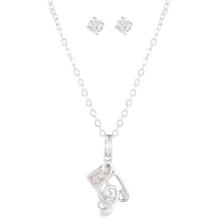 Bay Studio CZ Music Note Necklace & Earring