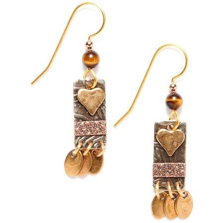 Silver Forest Heart Rectangle Drop Earrings