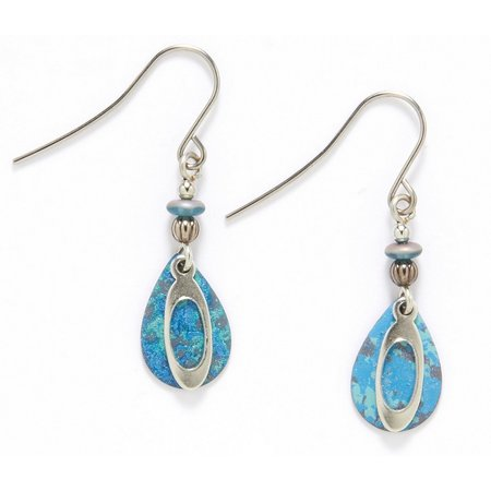 Silver Forest Blue Teardrop Earrings