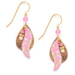 Silver Forest Pink Paisley Teardrop Earrings