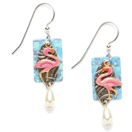 Silver Forest Flamingo Pearlescent Drop Earrings Bealls