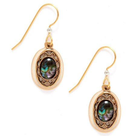 Silver Forest Layered Oval Abalone Drop Earrings