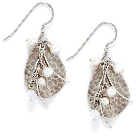 Silver Forest Hammered Teardrop Pearl Earrings