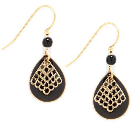 Silver Forest Black Epoxy Teardrop Earrings