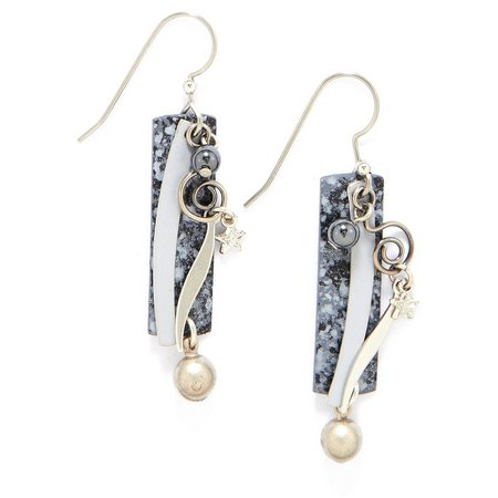 Silver Forest Layered Rectangle Pearl Earrings