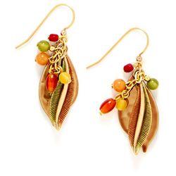 Silver Forest Golden Leaf Dangle Earrings