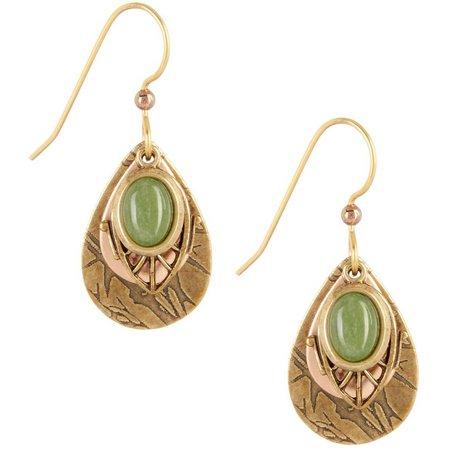 Silver Forest Green Oval Layered Teardrop Earrings