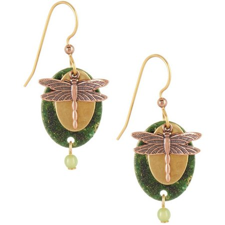 Silver Forest Green Oval Dragonfly Earrings
