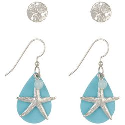 Silver Forest Starfish & Sand Dollar Earring Set