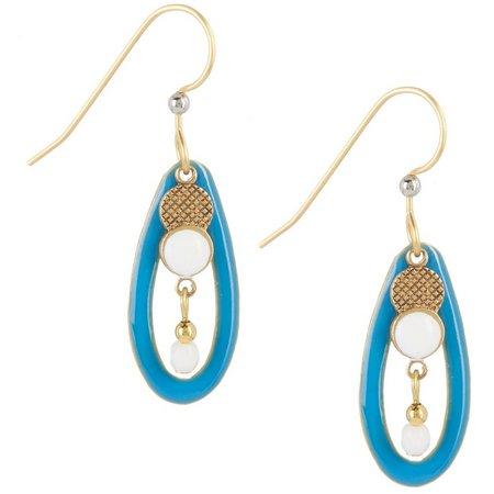 Silver Forest Blue & White Open Oval Earrings