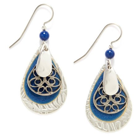 Silver Forest Blue & Silver Tone Teardrop Earrings