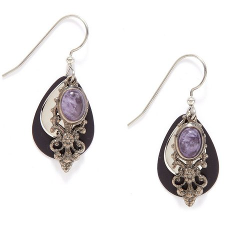 Silver Forest Amethyst Filigree Layered Earrings