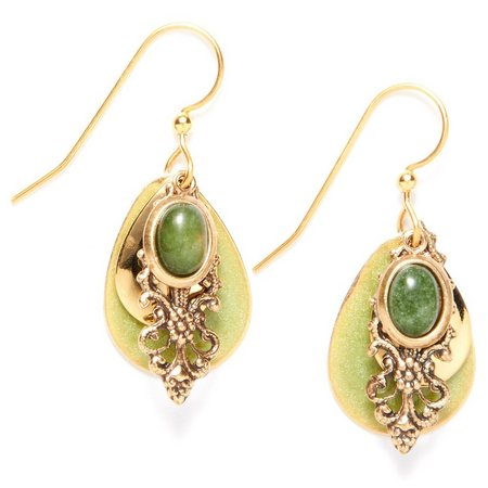 Silver Forest Jade Filigree Teardrop Earrings