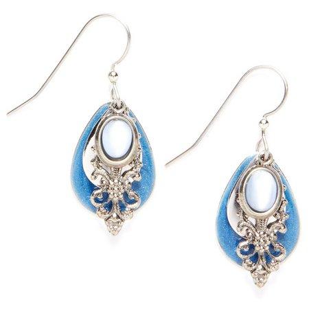Silver Forest Blue Filigree Teardrop Earrings