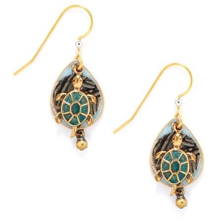 Silver Forest Sea Turtle Earrings