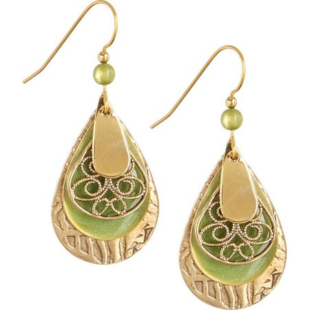 Silver Forest Green Teardrop Gold Tone Earrings