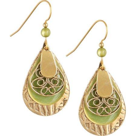 Silver Forest Green Teardrop Gold Tone Earrings