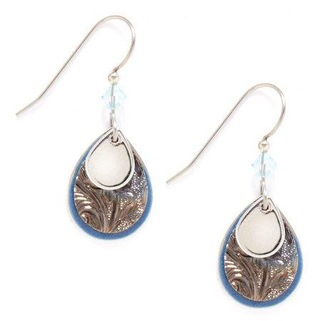 Silver Forest Blue Triple Layer Earrings