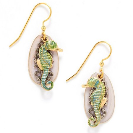 Silver Forest Seahorse Drop Earrings