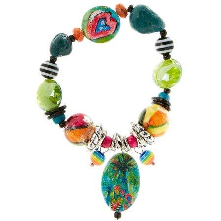Leoma Lovegrove Hearts Of Palm Beaded Stretch Bracelet