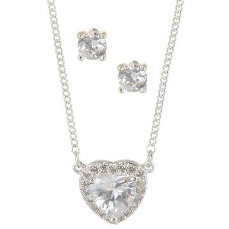 Nine West CZ Heart Silver Tone Necklace Set