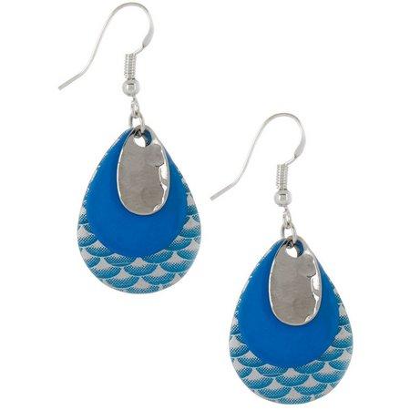 EYE CATCHING Printed Blue Layered Lure Earrings