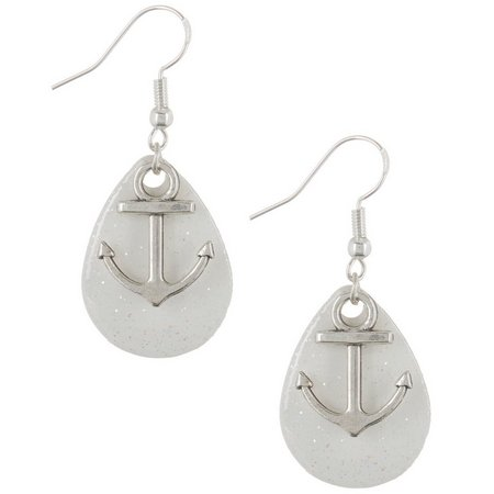 EYE CATCHING Anchor & White Sparkle Lure Earrings