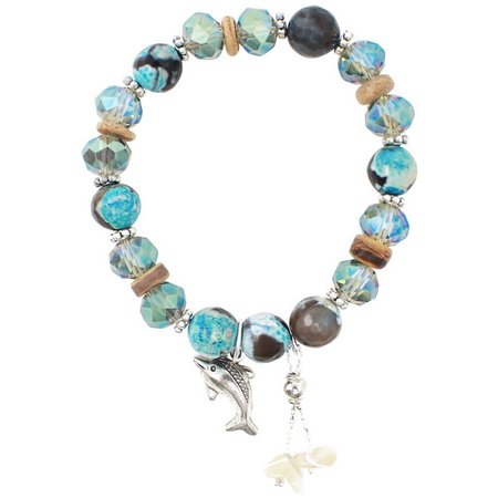 Florida Roots Blue Multi Bead Dolphin Charm Bracelet