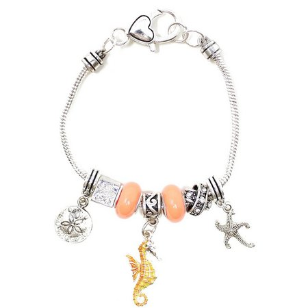 Be Charmed Peach Glass Beads Seahorse Charm Bracelet