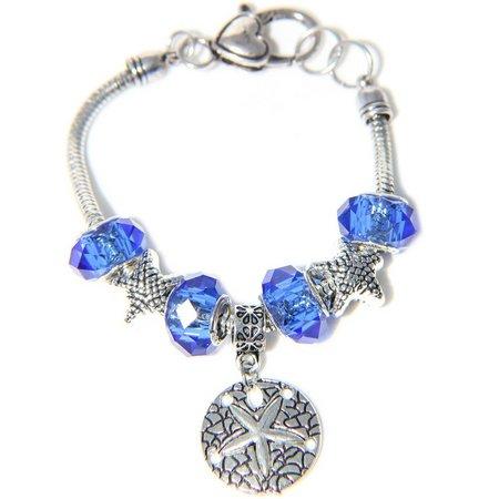 Be Charmed Blue Beads & Sand Dollar Charm