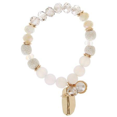 Florida Roots Faux Pearl & Cross Charm Bracelet