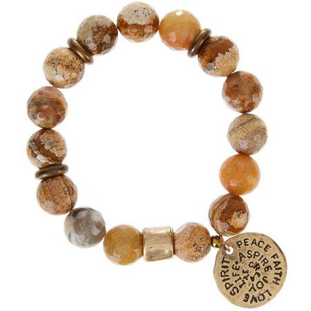 Florida Roots Jasper Peace Charm Stretch Bracelet