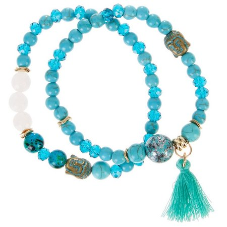 Florida Roots Turquoise Blue Beaded Bracelet Set