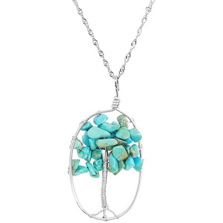 Believe In Turquoise Blue Stone Tree Necklace