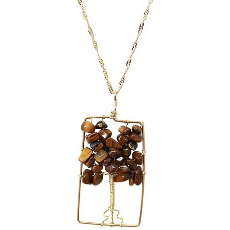 Believe In Tiger Eye Tree Of Life Necklace