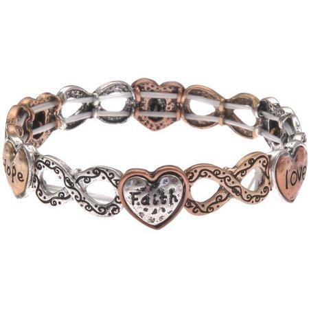 Believe In Tri Tone Heart Infinity Symbol Bracelet