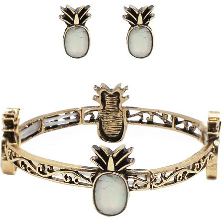 Believe In Pineapple Mother Of Pearl Earring &