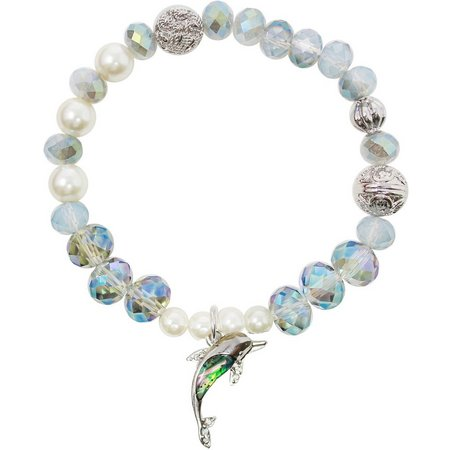 Believe In Dolphin Charm Beaded Bracelet