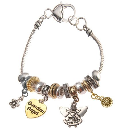 Be Charmed Guardian Angel Charm Two Tone Bracelet