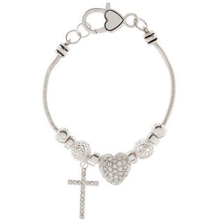 Be Charmed Rhinestone Pave Heart Charm Bracelet