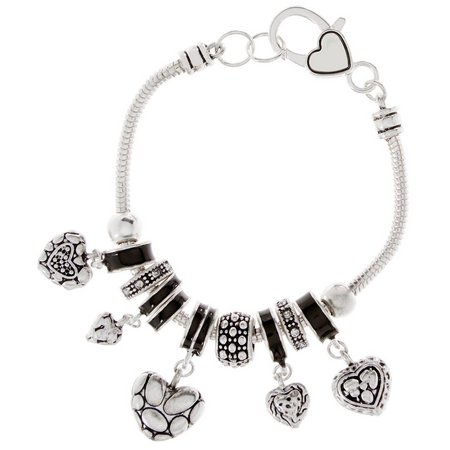 Be Charmed Textured Puffy Heart Charm Bracelet