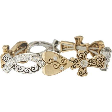 Believe In Rhinestones Heart & Cross Link Bracelet