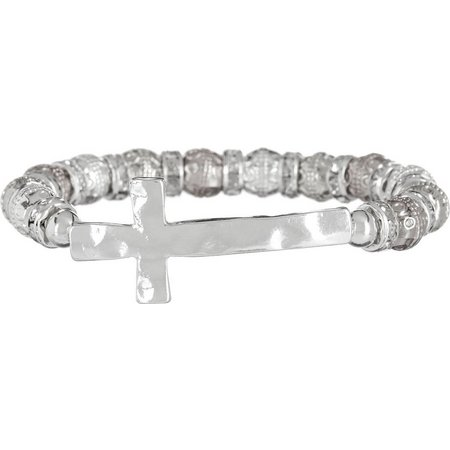 Believe In Silver Tone Cross Stretch Bracelet