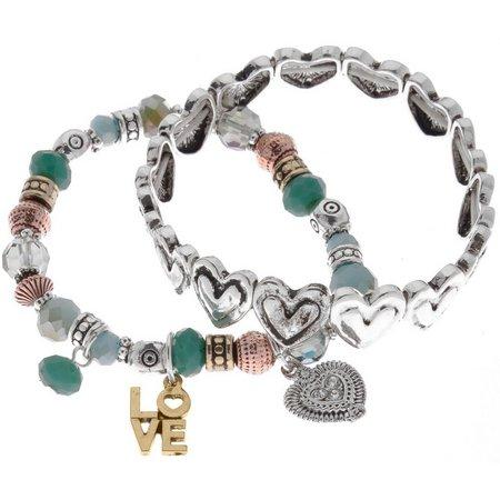 Believe In Hearts & Love Stretch Bracelet Set