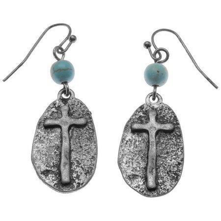 Believe In Oval Cross Aqua Blue Bead Drop