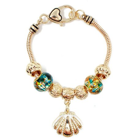 Be Charmed Gold Tone Shell Charm Bracelet