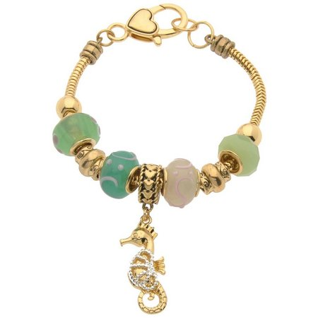 Be Charmed Green Slider Bead Seahorse Charm Bracelet