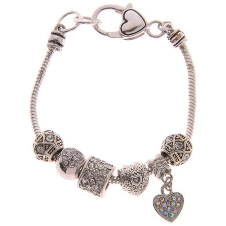 Be Charmed Rhinestone Heart Charm Bracelet