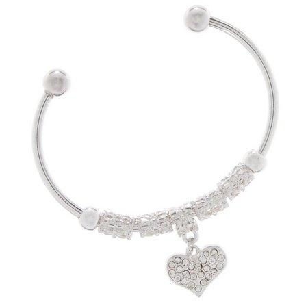 Be Charmed Pave Rhinestone Heart Charm Bracelet