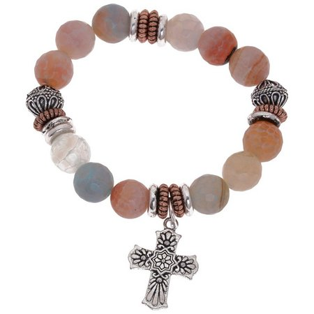 Florida Roots Agate Beaded Cross Charm Bracelet